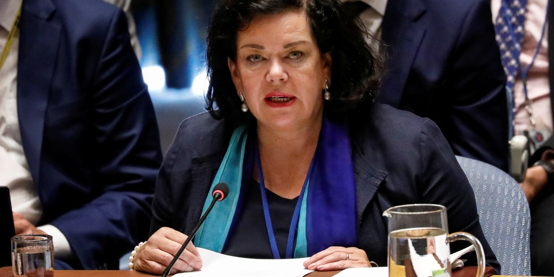 FILE PHOTO: UK Ambassador to the United Nations, Karen Pierce, speaks to the United Nations Security Council during a meeting about a chemical attack on former Russian spy Sergei Skripal and his daughter using a military-grade nerve agent, at the U.N. headquarters in New York City, U.S., September 6, 2018. REUTERS/Brendan McDermid/File Photo