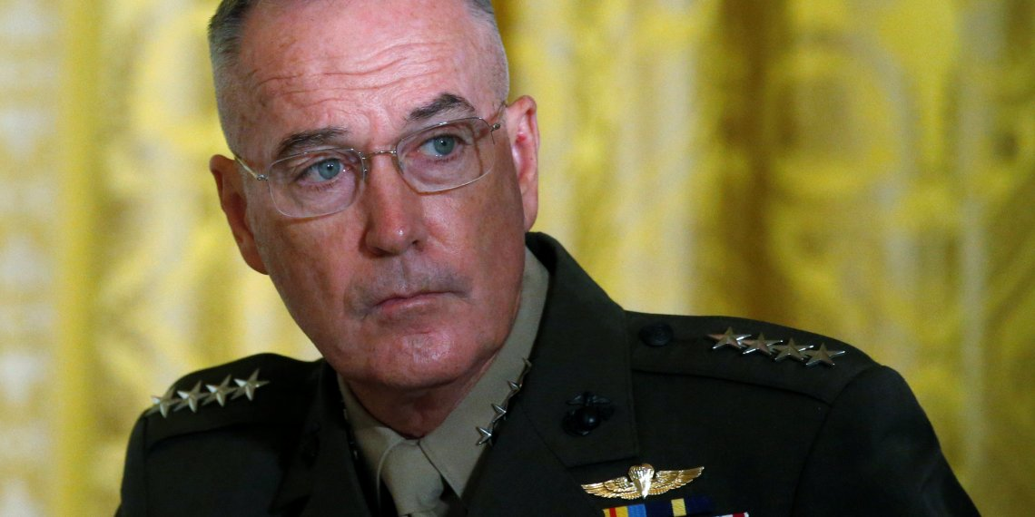 FILE PHOTO: U.S. Joint Chiefs Chairman General Joseph Dunford  attends a meeting of the National Space Council in the East Room of the White House in Washington, U.S., June 18, 2018. REUTERS/Leah Millis/File Photo