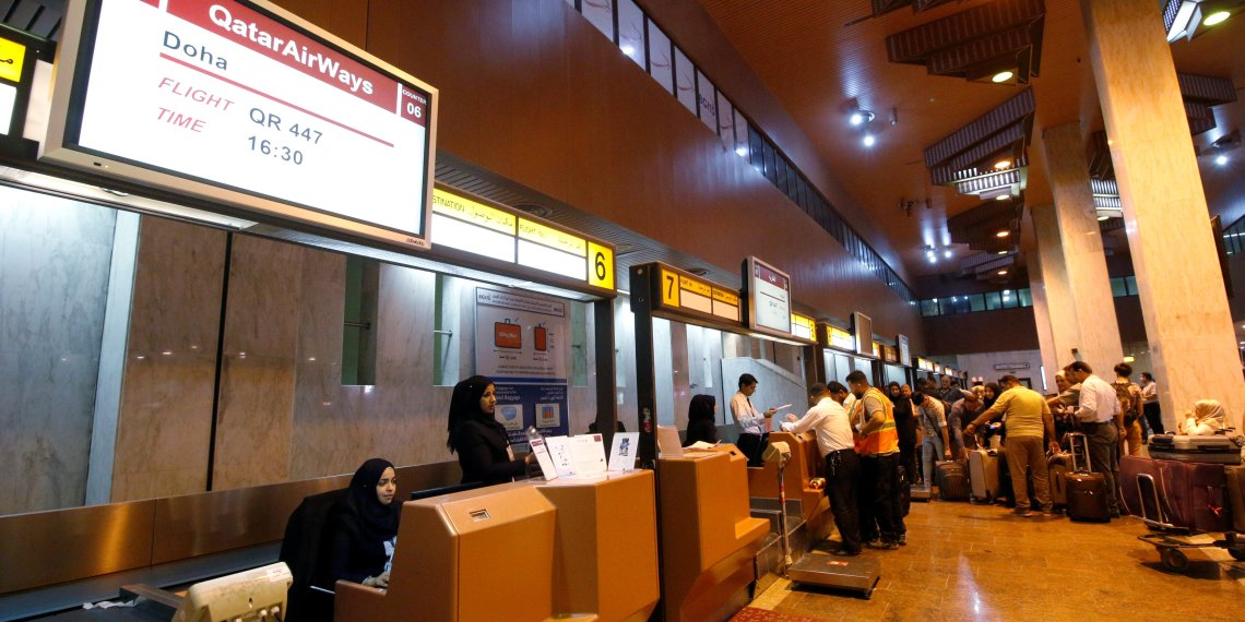 Passengers check-in for their flights at Basra airport after it was targeted by rocket fire in Basra, Iraq September 8, 2018. REUTERS/Essam al-Sudani
