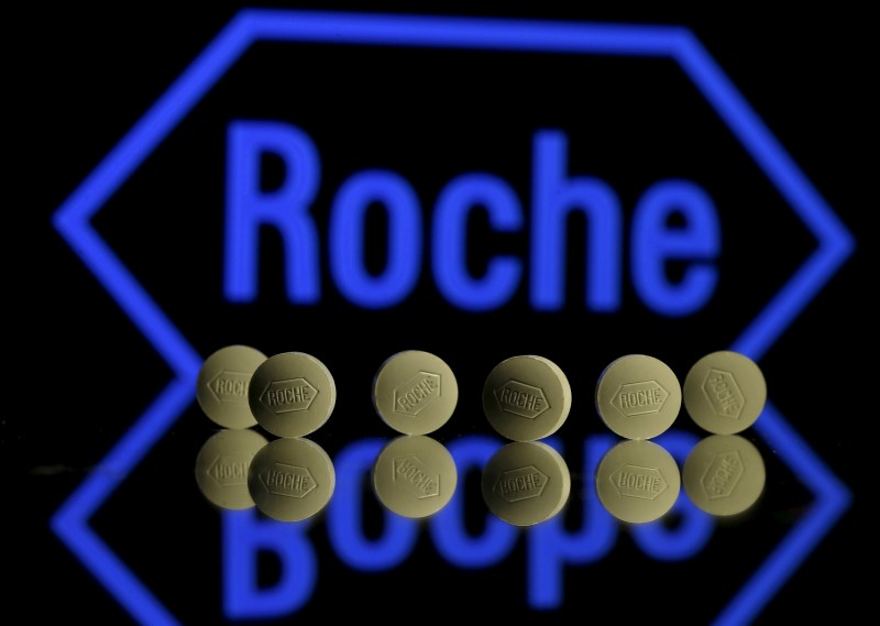 FILE PHOTO: Roche tablets are seen positioned in front of a displayed Roche logo in this photo illustration shot January 22, 2016. REUTERS/Dado Ruvic/Illustration/File Photo