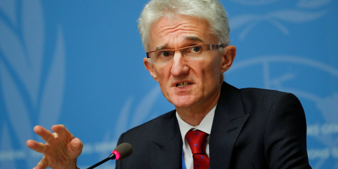 U.N. humanitarian coordinator Mark Lowcock attends a news conference at the United Nations in Geneva, Switzerland, September 10, 2018. REUTERS/Denis Balibouse
