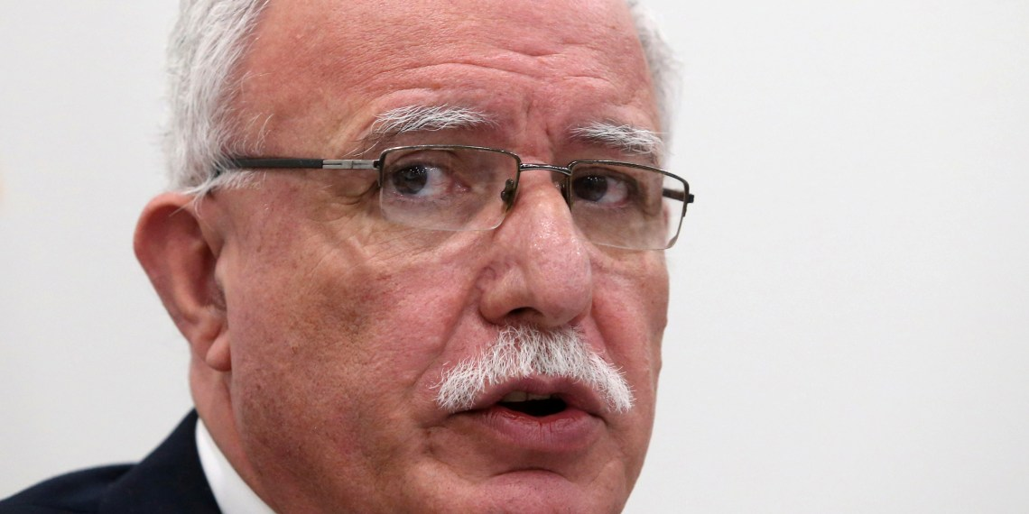 FILE PHOTO: Palestinian Foreign Minister Riyad al-Maliki holds a news conference at the International Criminal Court in The Hague, Netherlands, May 22, 2018. REUTERS/Francois Walschaerts/File Photo