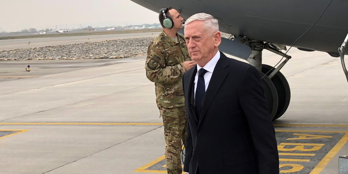 FILE PHOTO: U.S. Defense Secretary Jim Mattis lands in Kabul on March 13, 2018 on an unannounced trip to Afghanistan. REUTERS/Phil Stewart
