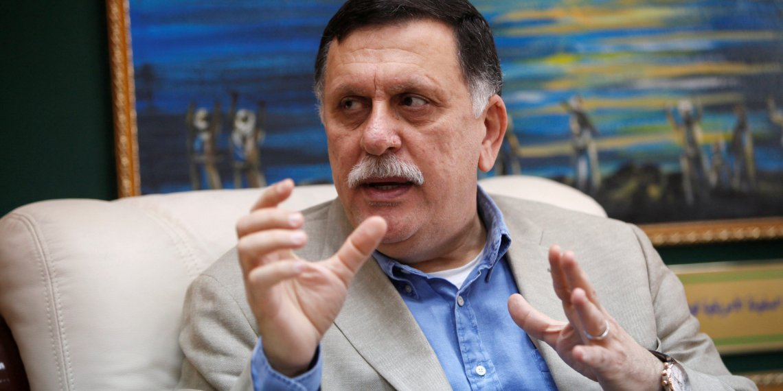 FILE PHOTO: Prime Minister of Libya's unity government Fayez Seraj speaks during an interview with Reuters at his office in the naval base of Tripoli, Libya, June 3, 2016. REUTERS/Ismail Zitouny/File Photo