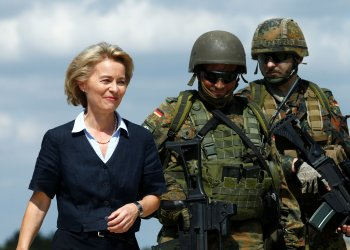 FILE PHOTO: German Defence Minister Ursula von der Leyen visits the Transport Helicopter Regiment 30 (Transporthubschrauberregiment 30) at the Hermann-Koehl-Kaserne in Niederstetten, Germany, August 20, 2018. REUTERS/Ralph Orlowski
