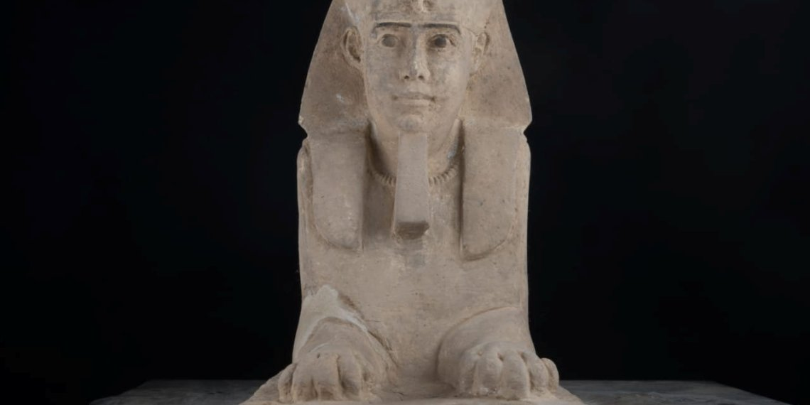 The sandstone statue of Sphinx that was discovered in Kom Ombo Temple in Aswan in upper Egypt is seen in this handout picture obtained on September 16, 2018. The Ministry of Antiquities/Handout via REUTERS