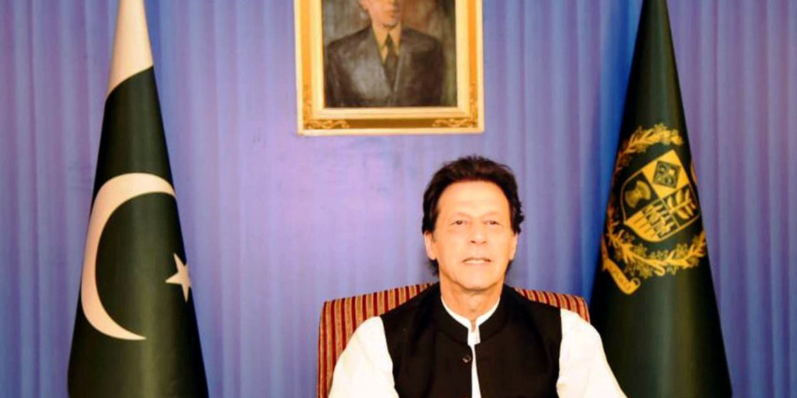 FILE PHOTO: Pakistan's Prime Minister Imran Khan, speaks to the nation in his first televised address in Islamabad, Pakistan August 19, 2018. Press Information Department (PID)/Handout via REUTERS