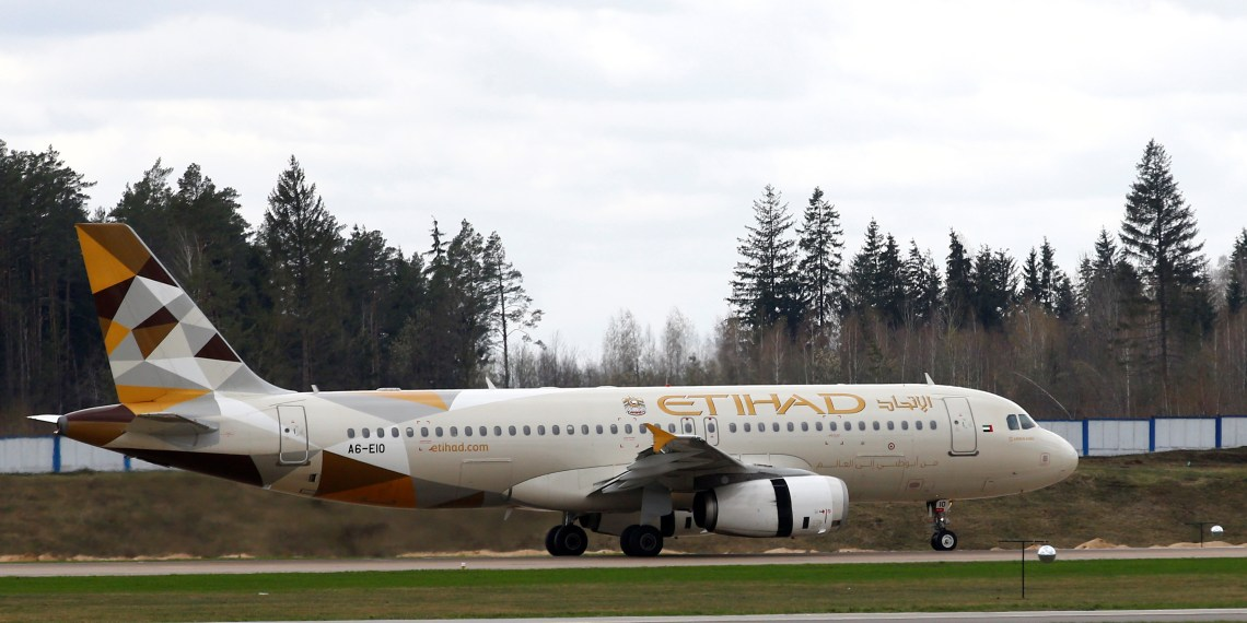 FILE PHOTO: Etihad Airways Airbus A320-200 plane is seen at the National Airport Minsk, Belarus April 19, 2018. REUTERS/Vasily Fedosenko