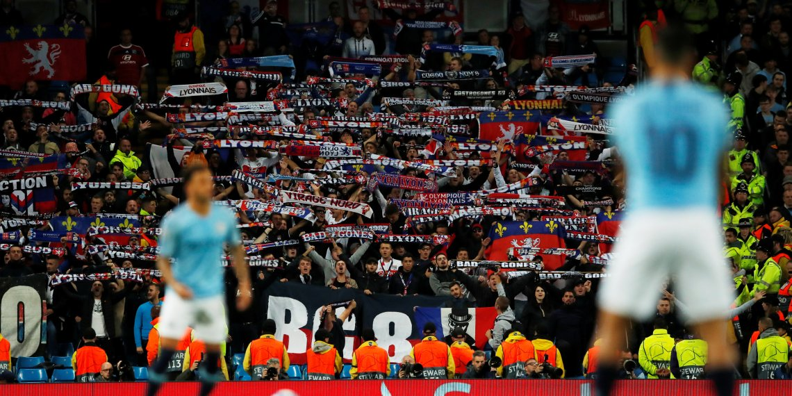 Soccer Football - Champions League - Group Stage - Group F - Manchester City v Olympique Lyonnais - Etihad Stadium, Manchester, Britain - September 19, 2018 Lyon fans during the match Action Images via Reuters/Andrew Boyers