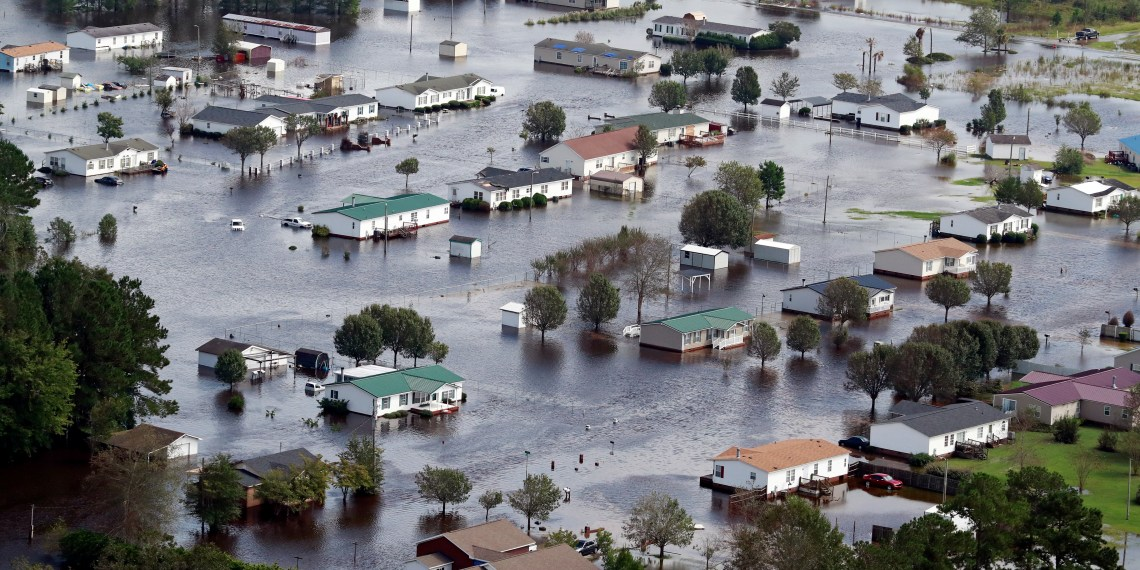 Houses sit in floodwater on the outskirts of Lumberton, North Carolina September 17, 2018. REUTERS/Jason Miczek