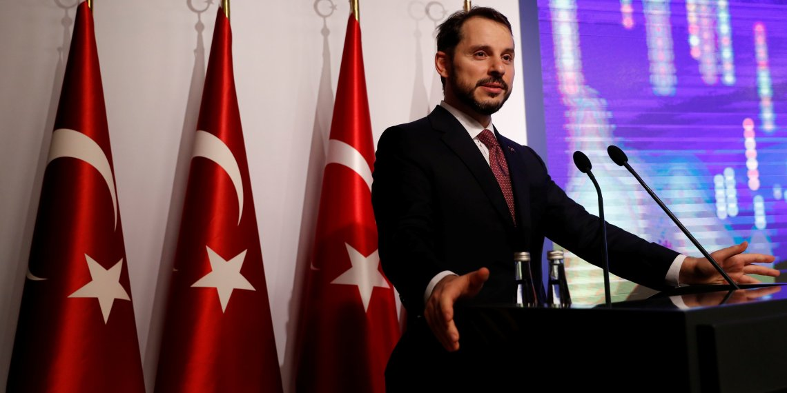 FILE PHOTO: Turkish Treasury and Finance Minister Berat Albayrak speaks during a presentation to announce his economic policy in Istanbul, Turkey August 10, 2018. REUTERS/Murad Sezer/File Photo