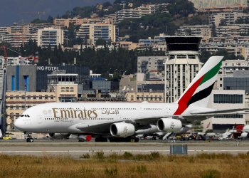 FILE PHOTO: An Emirates Airbus A380-800 plane is seen at Nice International airport in Nice, France, September 19, 2018. REUTERS/Eric Gaillard/File Photo