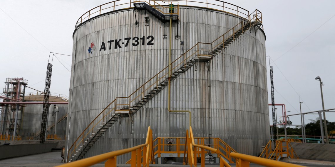 FILE PHOTO: Storage tanks are seen at Ecopetrol's Castilla oil rig platform, in Castilla La Nueva, Colombia June 26, 2018. REUTERS/Luisa Gonzalez/File Photo