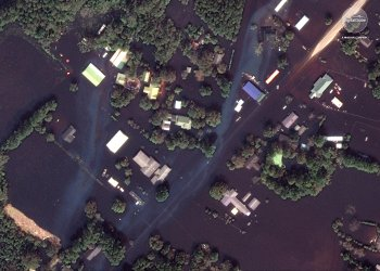A closeup of floodwaters aftermath of Hurricane Florence is seen in this satellite image over the area surrounding Wallace, North Carolina, U.S., September 20, 2018. Satellite image ©2018 DigitalGlobe, a Maxar company/Handout via REUTERS