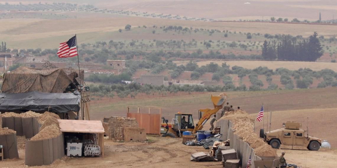 U.S. forces set up a new base in Manbij, Syria May 8, 2018. REUTERS/Rodi Said