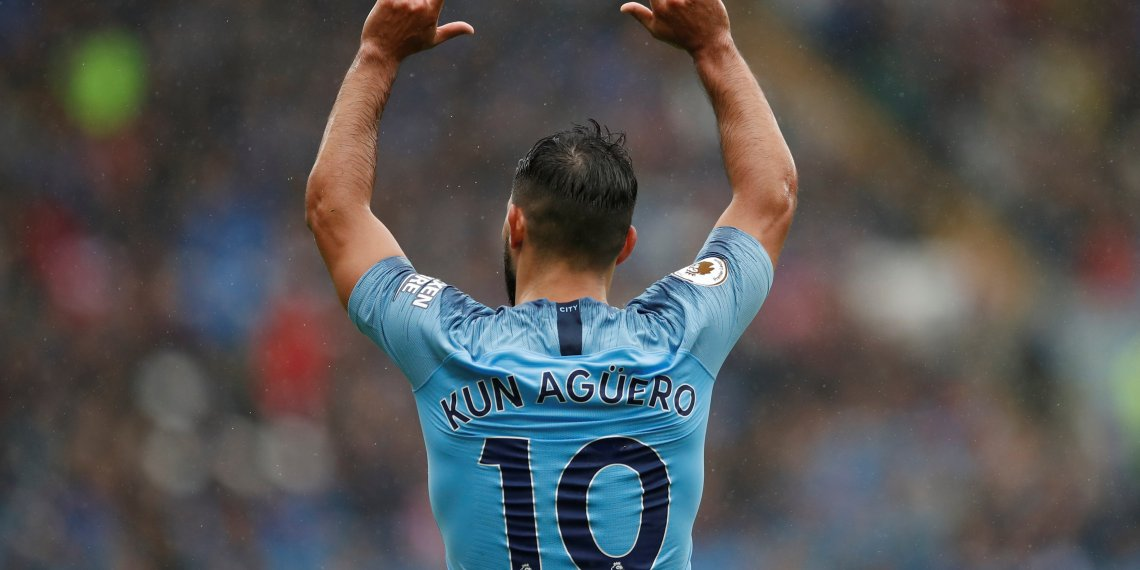 Soccer Football - Premier League - Cardiff City v Manchester City - Cardiff City Stadium, Cardiff, Britain - September 22, 2018 Manchester City's Sergio Aguero celebrates scoring their first goal Action Images via Reuters/Andrew Boyers