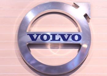 FILE PHOTO: The logo of Swedish truck maker Volvo is pictured at the IAA truck show in Hanover, September 22, 2016. REUTERS/Fabian Bimmer