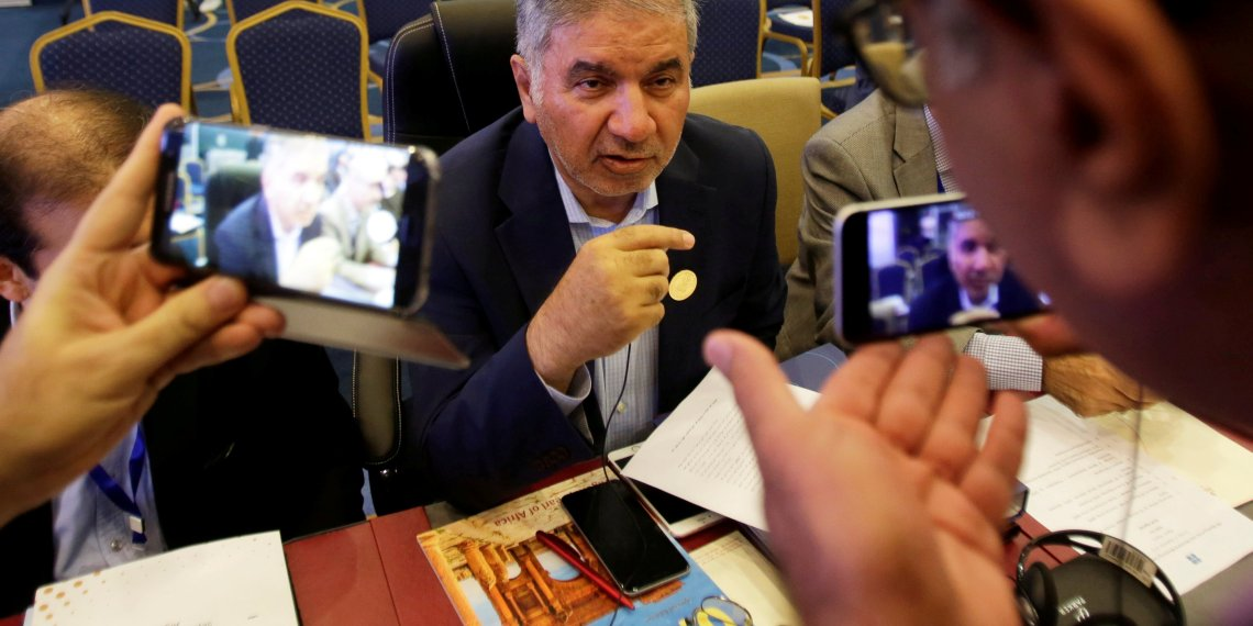 FILE PHOTO: Iran's OPEC governor Hossein Kazempour Ardebili talks to the media at the OPEC Ministerial Monitoring Committee in Algiers, Algeria September 23, 2018. REUTERS/Ramzi Boudina/File Photo