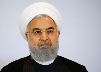FILE PHOTO: Iranian President Hassan Rouhani delivers a statement after a two day visit in Bern, Switzerland, July 3, 2018. REUTERS/Denis Balibouse