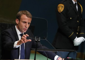 France's President Emmanuel Macron addresses the 73rd session of the United Nations General Assembly at U.N. headquarters in New York, U.S., September 25, 2018. REUTERS/Shannon Stapleton