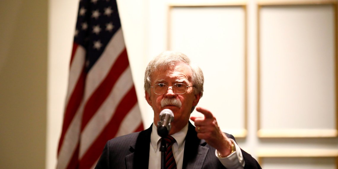 "FILE PHOTO: National Security Adviser John Bolton discusses ""Protecting American Constitutionalism and Sovereignty from International Threats,"" at a forum hosted by the Federalist Society for Law and Public Policy Studies in Washington, U.S. September 10, 2018. REUTERS/Eric Thayer"