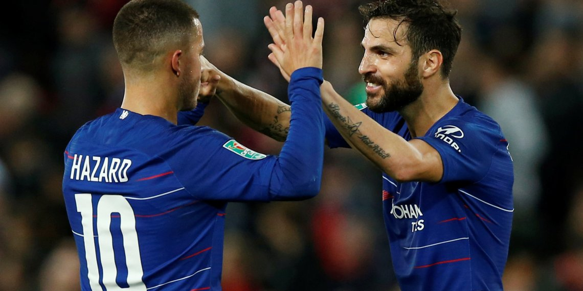 Soccer Football - Carabao Cup - Third Round - Liverpool v Chelsea - Anfield, Liverpool, Britain - September 26, 2018 Chelsea's Eden Hazard celebrates with Cesc Fabregas after the match REUTERS/Andrew Yates