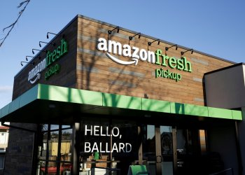 FILE PHOTO: AmazonFresh Pickup, a service launched by Amazon.com Inc and currently open only to employees, is pictured in the Ballard neighborhood of Seattle, Washington, U.S. March 29, 2017. REUTERS/Jason Redmond/File Photo