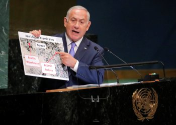 Israeli Prime Minister Benjamin Netanyahu addresses the 73rd session of the United Nations General Assembly at U.N. headquarters in New York, U.S., September 27, 2018. REUTERS/Caitlin Ochs