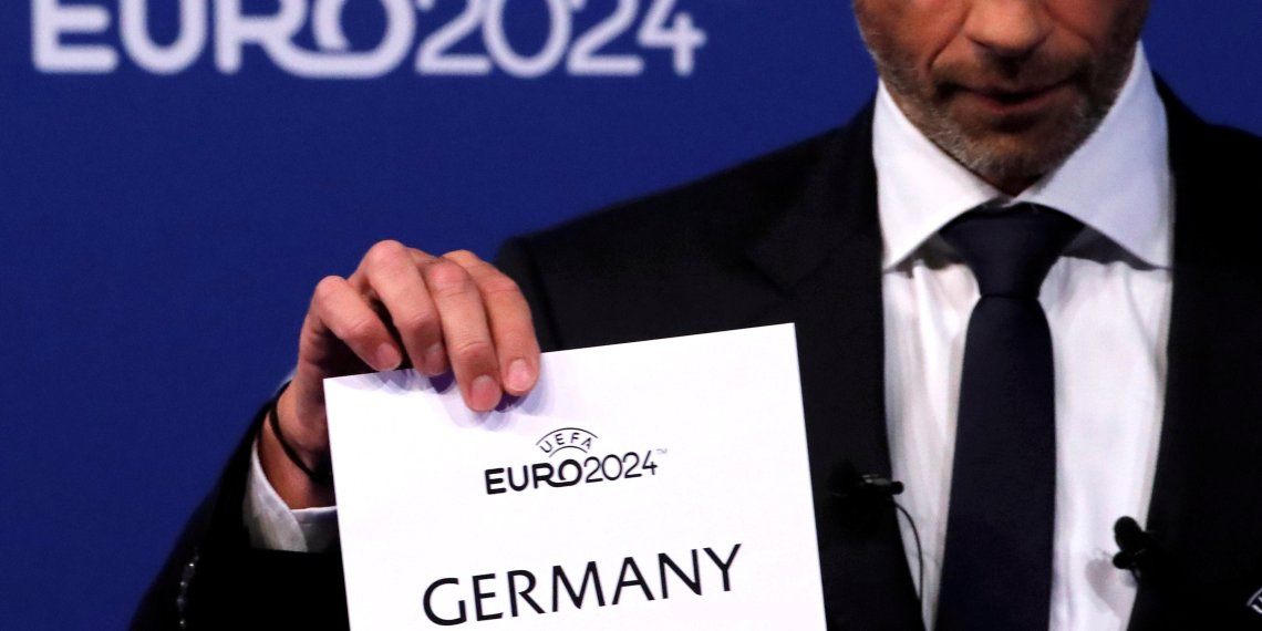 FILE PHOTO: Soccer Football - Euro 2024 Host Announcement - Nyon, Switzerland - September 27, 2018 UEFA President Aleksander Ceferin unveils the host nation for Euro 2024 during the announcement REUTERS/Denis Balibouse/File Photo