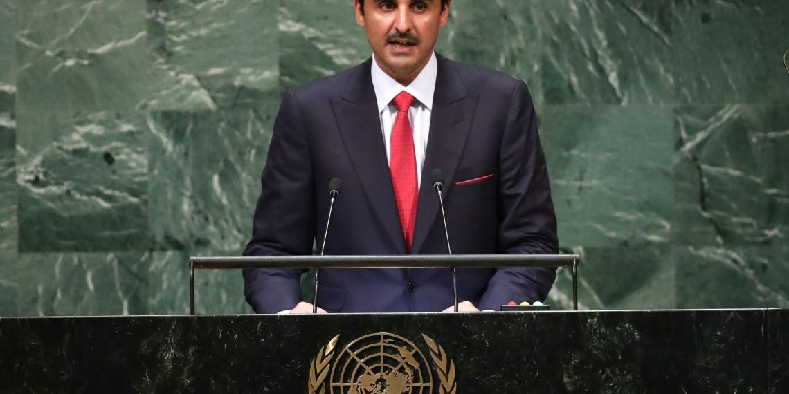 Qatar's Emir Sheikh Tamim bin Hamad Al -Thani addresses the 73rd session of the United Nations General Assembly at U.N. headquarters in New York, U.S., September 25, 2018. REUTERS/Carlo Allegri