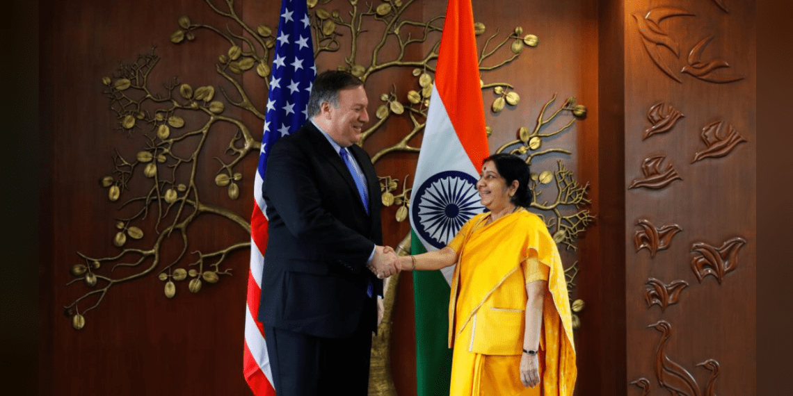 U.S. Secretary of State Mike Pompeo shakes hands with India's Foreign Minister Sushma Swaraj before the start of their meeting in New Delhi, India, September 6, 2018. REUTERS/Adnan Abidi