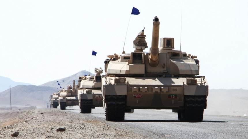 French-made Leclerc tanks of the Saudi-led coalition are deployed in the coastal district of Dhubab on January 7, 2017, during a military operation against Shiite Huthi rebels and their allies. Yemeni government forces attacked rebel positions on the Red Sea coast on sparking clashes in which six soldiers and 11 rebels were killed, a loyalist commander said. / AFP / SALEH AL-OBEIDI (Photo credit should read SALEH AL-OBEIDI/AFP/Getty Images)