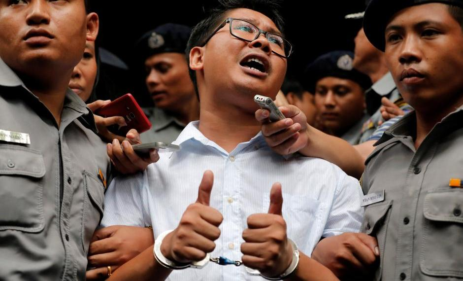 Reuters journalist Wa Lone leaves after listening to the verdict at Insein court in Yangon, Myanmar, September 3, 2018. REUTERS/Myat Thu Kyaw