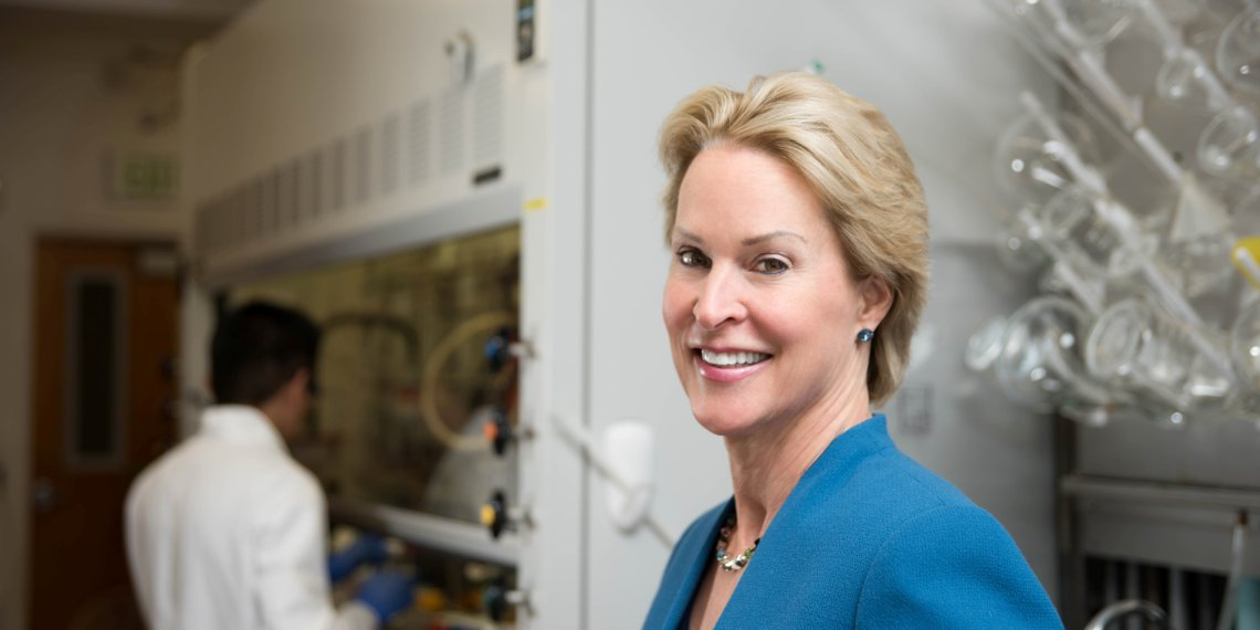 Frances Arnold of the California Institute of Technology (CalTech), a winner of the 2018 Nobel Prize for Chemistry, poses in a laboratory in an undated photo provided to Reuters by Caltech October 3, 2018. California Institute of Technology/Handout via REUTERS