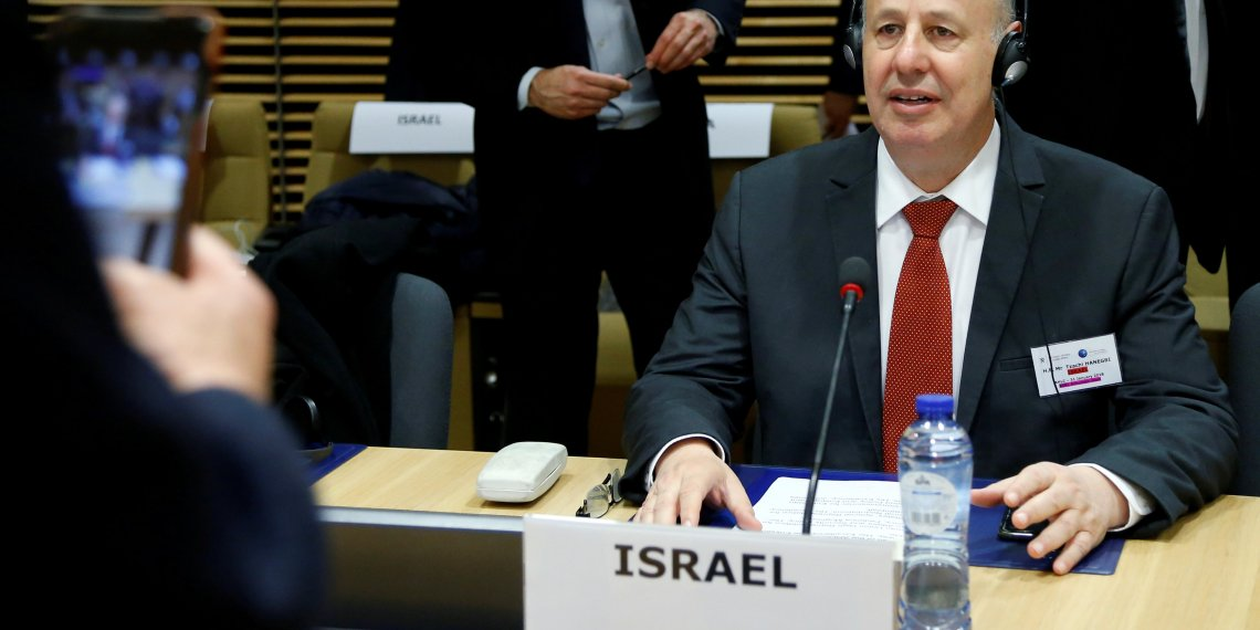 FILE PHOTO: Israeli Minister of Regional Cooperation Tzachi Hanegbi attends a session of the International Donor Group for Palestine at the EU Commission headquarters in Brussels, Belgium, January 31, 2018.  REUTERS/Francois Lenoir/File Photo