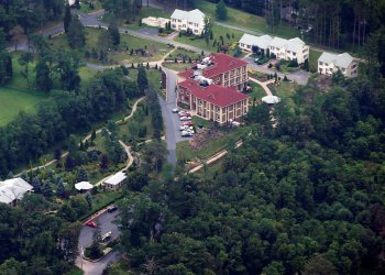 FILE PHOTO: An aerial view of the Golden Generation Worship and Retreat Center in rural Saylorsburg, Pennsylvania, is seen in this picture taken July 9, 2013. The Private compound is where Fethullah Gulen, an influential islamist cleric has lived for more than a decade. REUTERS/Staff/File Photo