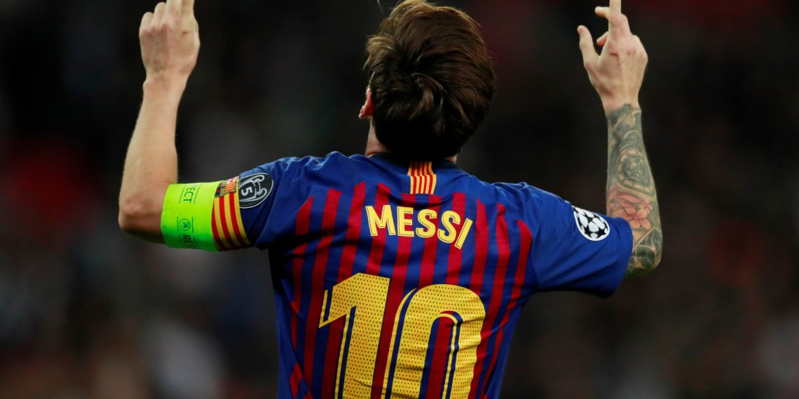 Soccer Football - Champions League - Group Stage - Group B - Tottenham Hotspur v FC Barcelona - Wembley Stadium, London, Britain - October 3, 2018 Barcelona's Lionel Messi celebrates scoring their fourth goal Action Images via Reuters/Andrew Couldridge