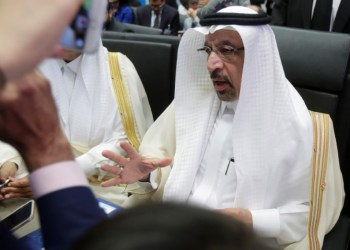 Saudi Arabia's Oil Minister Khalid al-Falih talks to journalists at the beginning of an OPEC meeting in Vienna, Austria, June 22, 2018. REUTERS/Heinz-Peter Bader