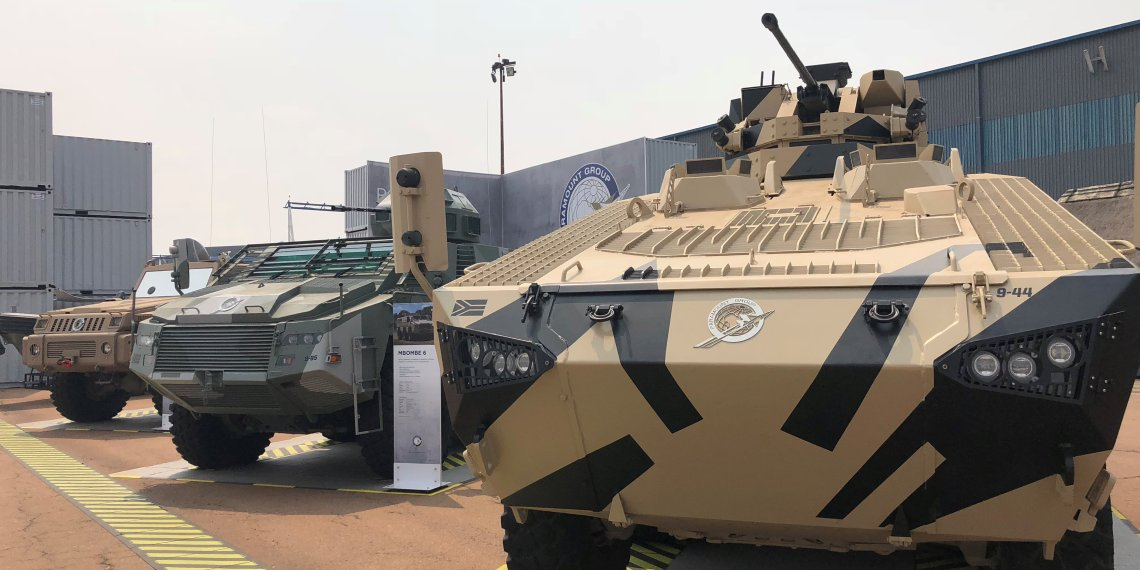Military vehicles are on display at the Africa Aerospace and Defence (AAD) expo at the Waterkloof Air Force Base near Pretoria, South Africa, September 21, 2018. REUTERS/Joe Bavier