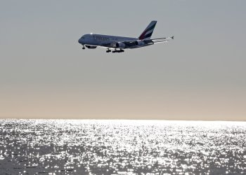 FILE PHOTO: An Emirates Airbus A380-800 airliner prepares to land at Nice international airport, France, January 18, 2018. REUTERS/Eric Gaillard/File Photo