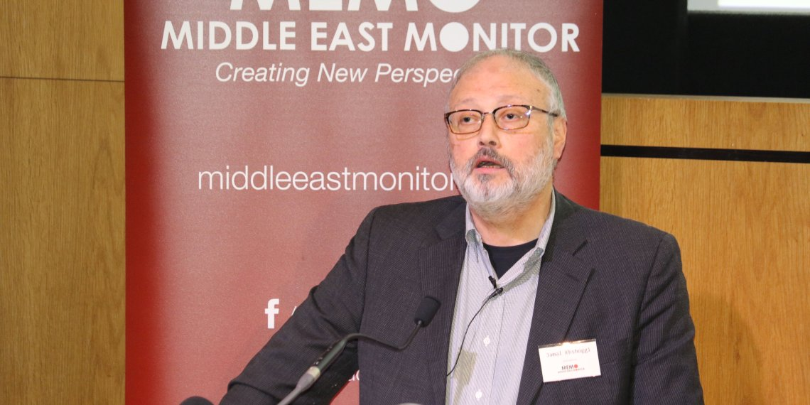 Saudi dissident Jamal Khashoggi speaks at an event hosted by Middle East Monitor in London Britain, September 29, 2018.  Middle East Monitor/Handout via REUTERS