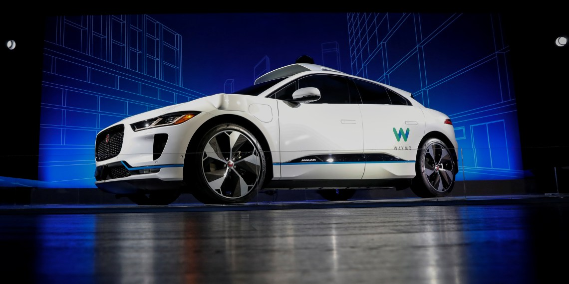 FILE PHOTO: A Jaguar I-PACE self-driving car is pictured during its unveiling by Waymo in the Manhattan borough of New York City, U.S., March 27, 2018. REUTERS/Brendan McDermid
