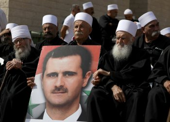 Druze people hold a rally in Majdal Shams near the ceasefire line between Israel and Syria in the Israeli occupied Golan Heights October 6, 2018 REUTERS/Ammar Awad