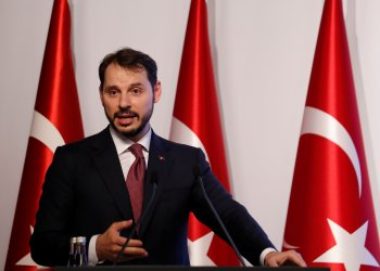 FILE PHOTO: Turkish Treasury and Finance Minister Berat Albayrak speaks during a presentation to announce his economic policy in Istanbul, Turkey August 10, 2018. REUTERS/Murad Sezer