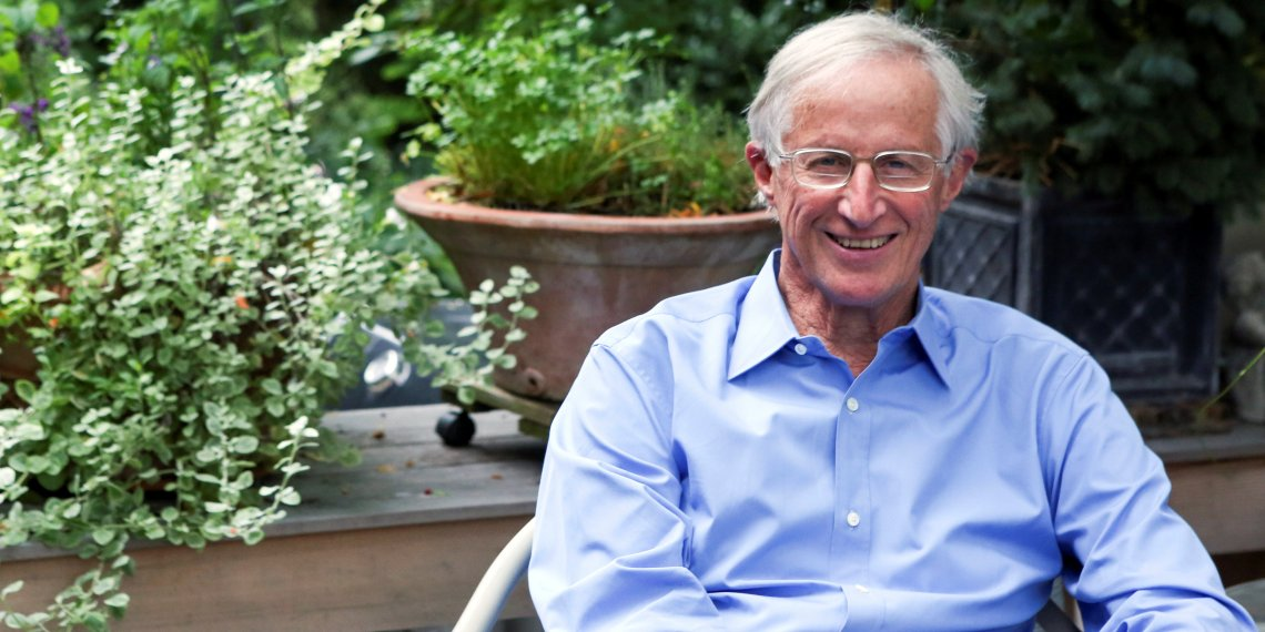 William D. Nordhaus, a professor at Yale University, in his backyard after winning the 2018 Nobel Economics Prize, at his home in New Haven, Connecticut, U.S. October 8, 2018. REUTERS/Michelle McLoughlin