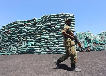 FILE PHOTO: A Somalian soldier walks past a consignment of charcoal destined for the export market in Barawe October 12, 2014. REUTERS/Feisal Omar