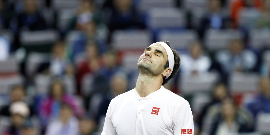 Tennis - Shanghai Masters - Shanghai, China - October 11, 2018 - Roger Federer of Switzerland reacts during his match against Roberto Bautista Agut of Spain. REUTERS/Aly Song