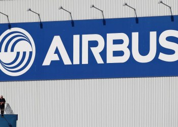 FILE PHOTO: Logo of Airbus is seen as an Airbus Beluga XL transport plane prepares to take off during its first flight event in Colomiers near Toulouse, France, July 19, 2018. REUTERS/Regis Duvignau