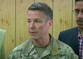 Commander of NATO forces in Afghanistan U.S. General Scott Miller attends a meeting in the Kandahar Governor's Compaund in Kandahar, Afghanistan, October 18, 2018. REUTERS/ via REUTERS TV