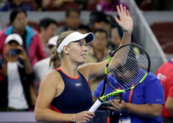 FILE PHOTO: Tennis - China Open - Women's Singles - Final - National Tennis Center, Beijing, China - October 7, 2018. Caroline Wozniacki of Denmark celebrates after winning the match against Anastasija Sevastova of Latvia. REUTERS/Jason Lee